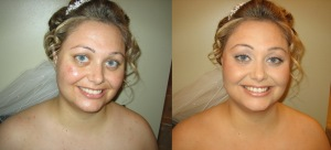 how to apply airbrush makeup, before and after airbrush makeup, makeup for oily skin wedding day makeup