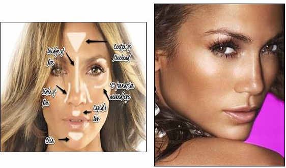 jennifer lopez makeup tutorial how to apply shimmer and bronzer to face products for oily skin celebrity makeup tips